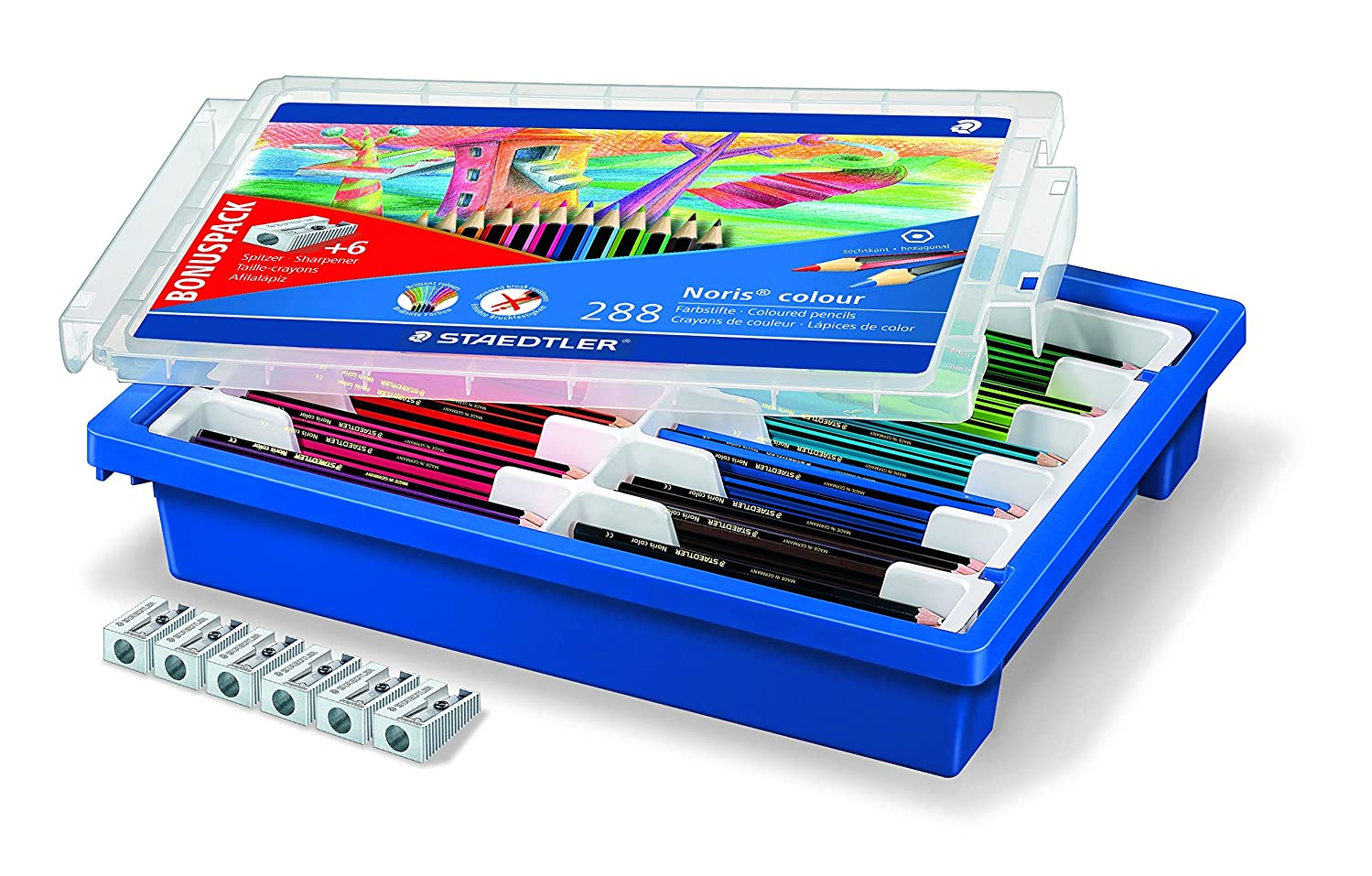 185 Staedtler Noris colour Pencil Sharpener with Assorted Pack of 6-288