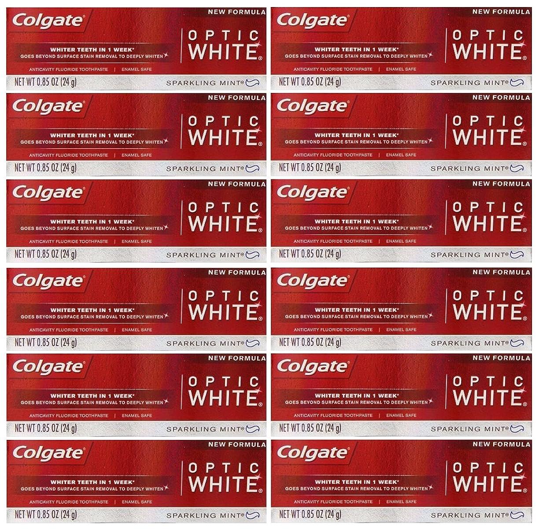 鳴り響くビルダー悪質なColgate 12パック - ハミガキ、スパークリングホワイト、スパークリングミント、トラベルサイズ0.85オンスホワイトニングオプティックホワイト歯