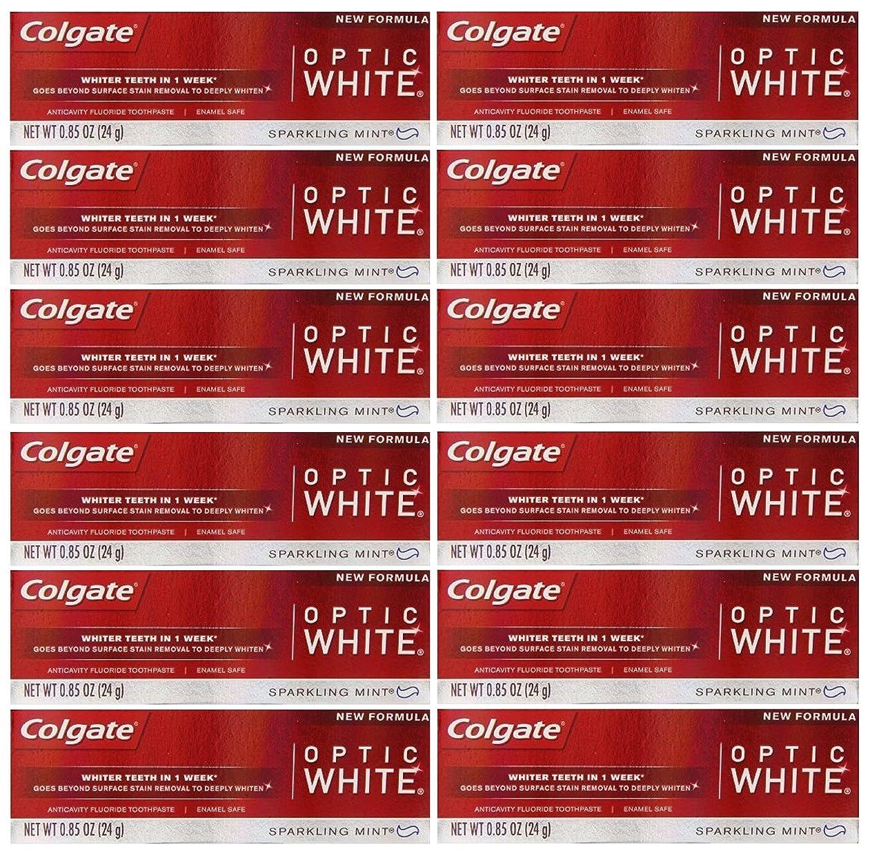 そこからぜいたくラウズColgate 12パック - ハミガキ、スパークリングホワイト、スパークリングミント、トラベルサイズ0.85オンスホワイトニングオプティックホワイト歯