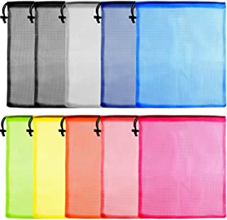 "KUUQA 10 Pcs Mesh Drawstring Bag, Laundry Bag, Mesh Stuff Sack, Golf Ball Bag, Nylon Mesh Bag for Storage, Travel and Sports (Colorful, 13""x15.5"")"