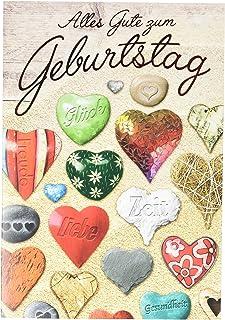 Tarjeta de cumpleaños Basic Classic, corazones de colores, 11,6 x 16,6 cm
