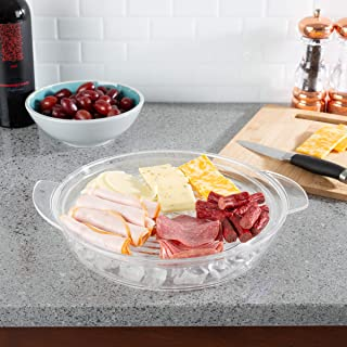 Classic Cuisine 82-KIT1086 Cold Serving Tray Platter with Ice Chamber, Lid and 3 Compartments-Chilled Divided Bowl for Fruit, Veggies, Cheese, and More, Clear