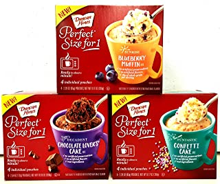 Duncan Hines Perfect Size for 1, Blueberry Muffin, Chocolate Lovers, Confetti Cake (Variety Pack of 3)