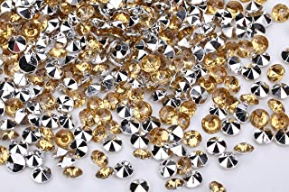 10000pcs/pack Wedding Table Scatter Confetti Bottom Silvered Crystal Acrylic Gems 4.5mm Acrylic Rhinestones Diamonds for Wedding, Bridal Shower, Vase fillers, Vase Beads Decoration (Gold & Sliver)