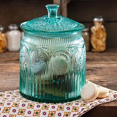 The Pioneer Woman Adeline Glass Cookie Jar - Turquoise