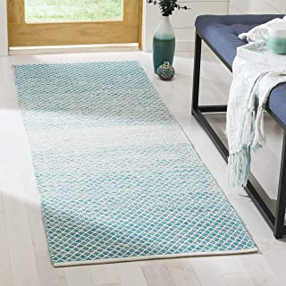 "Safavieh Montauk Collection MTK601E Handmade Flatweave Turquoise and Ivory Cotton Runner (2'3"" x 7')"