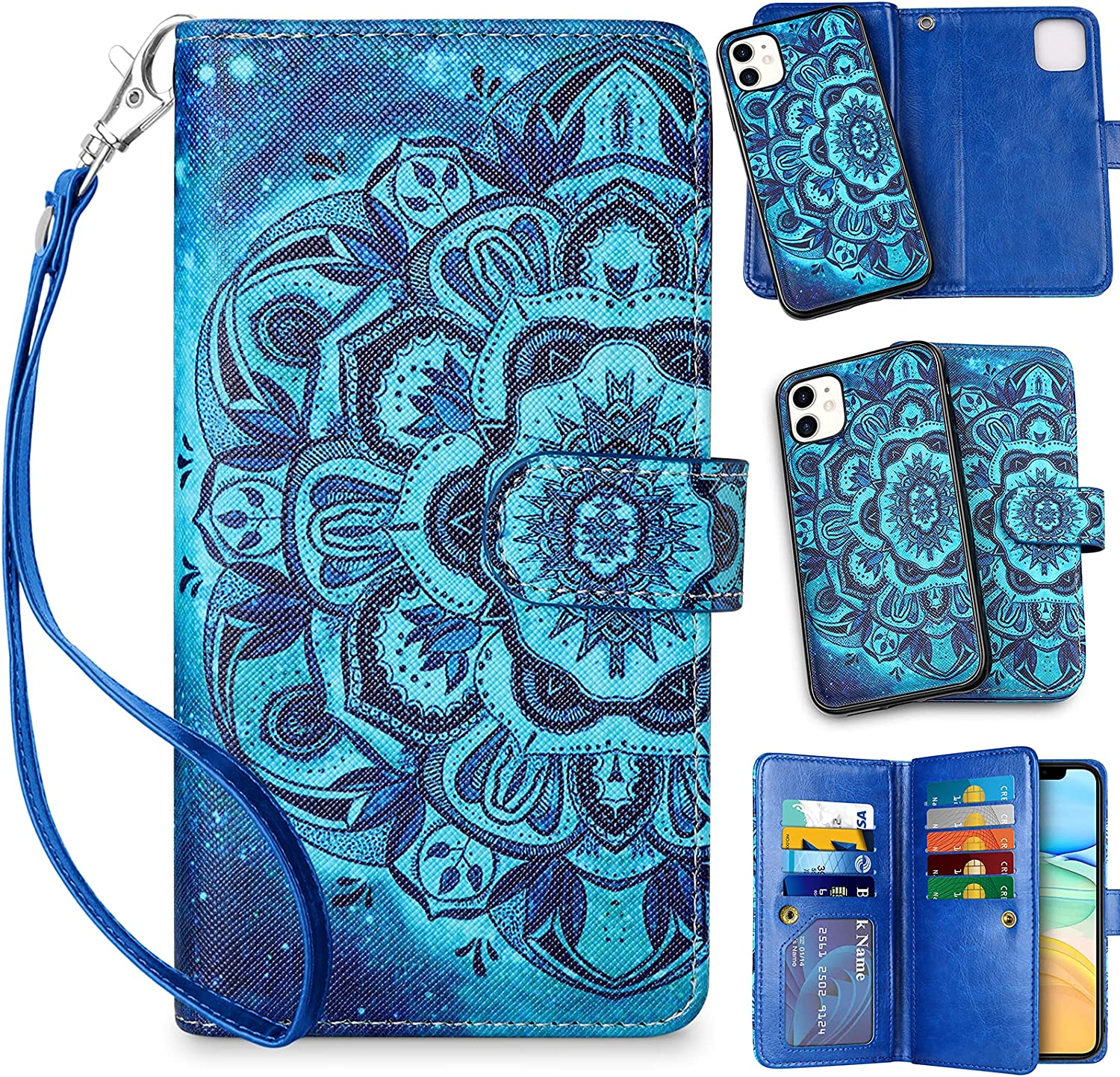 Vofolen for iPhone 11 Case with Credit Card Holder 2-in-1 Wallet ID Slot Women Girl Detachable Hybrid Protective Slim Hard Shell Magnetic PU Leather Folio Flip Cover for iPhone 11 Mandala Fantasy Blue