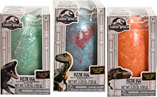 3 Jurassic World Dinosaur Jumbo Fizzle Egg Bath Bombs With Collectible Dog Tags Inside - Includes Wild Watermelon, Magma Mango and Survival Strawberry