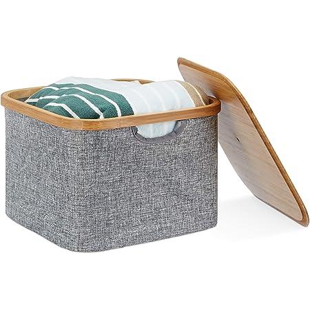 Relaxdays Panier de rangement Boîte Plastique, boîte de rangement avec couvercle, Corbeille Plastique, dimensions: 25x 33x 33cm, Grey Couvercle Bambou, bambou, gris, 33x 33x 25cm
