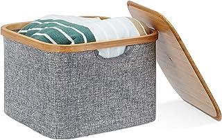Relaxdays Panier de rangement Boîte Plastique, boîte de rangement avec couvercle, Corbeille Plastique, dimensions: 25x 3...
