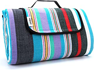 Large Picnic Blanket Waterproof Padded, Camping Mat Striped Ground Sheet for Beach Hiking Grass Travel Outdoor Blanket