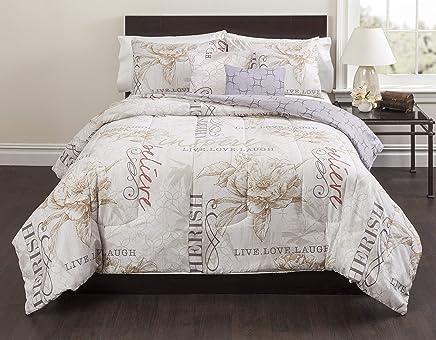 Casa Live Laugh Love 5 Piece Comforter Set,  Full,  Ivory