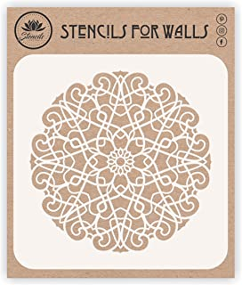 Geometric Stencil, 10 x 10 inch (M) - Arabic Islamic Mosaic Mandala Design Stencils Template for Painting