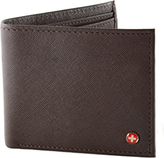 Mens Leather Bifold Wallet with Coin Pocket Purse Pouch & 2 Bill Sections