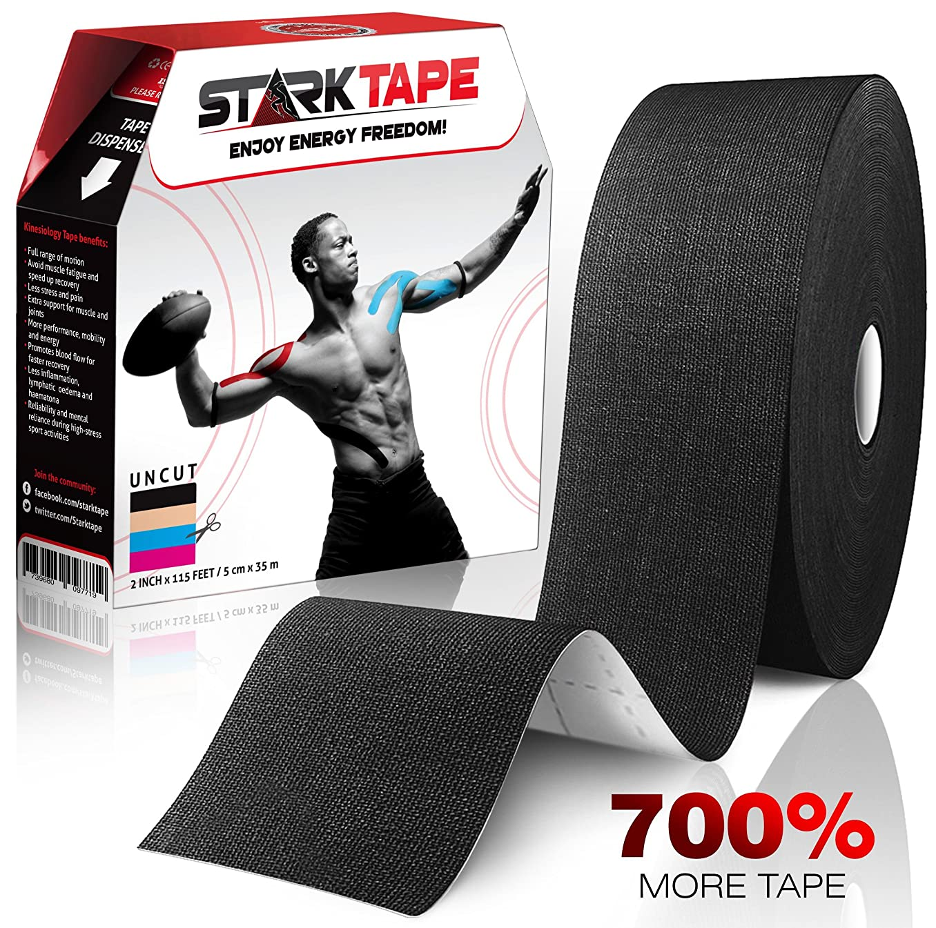 Kinesiology Tape Bulk | Designed to Help Boost Athletic Performance, Prevent Joint, Muscle Pain and Ease Inflammation | Easy to Apply, 97% Natural Cotton /3% Spandex