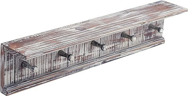 MyGift 5 Hook Rustic Wood Wall Mounted Floating Bathroom Shelf And Towel Rack