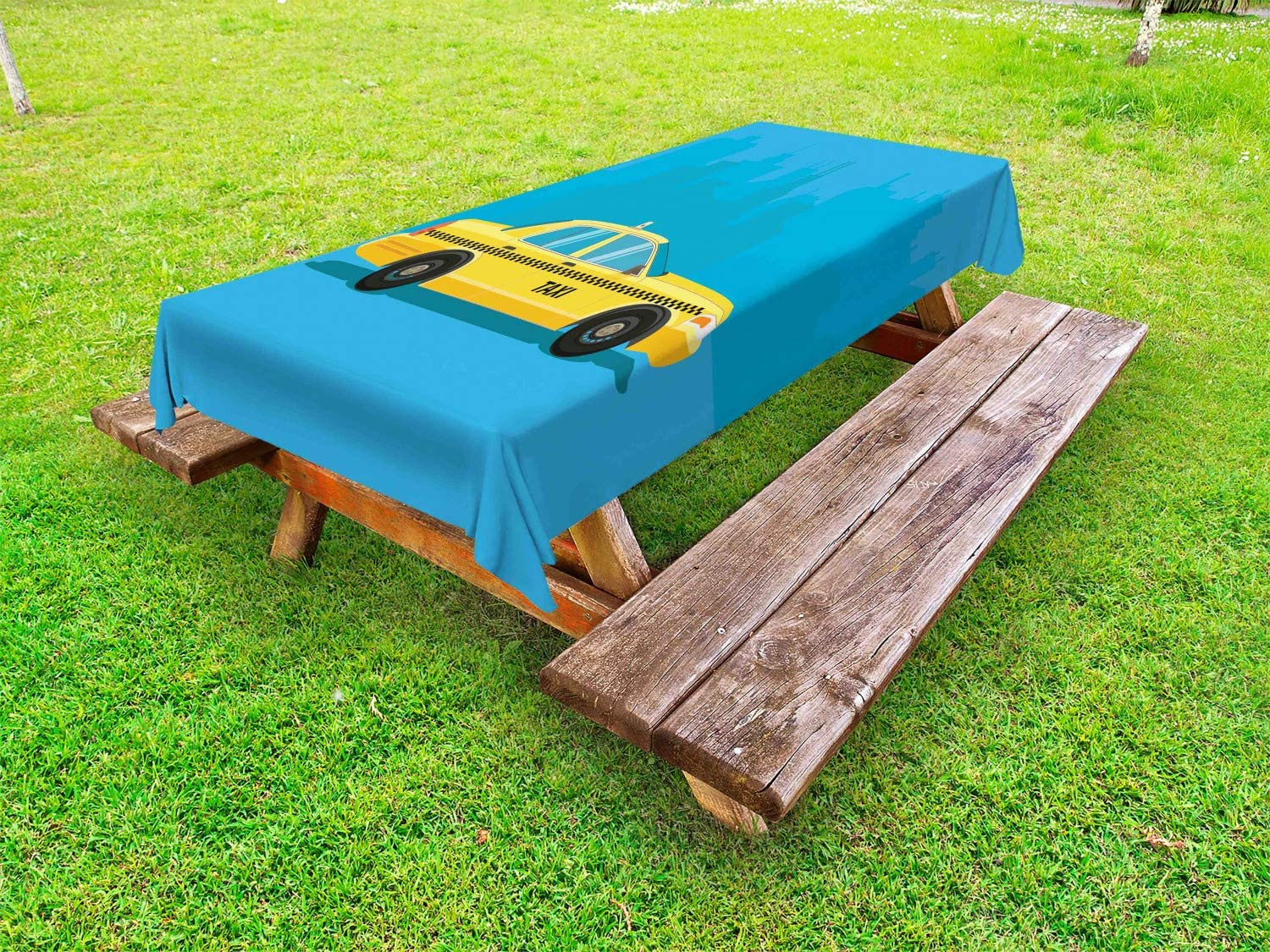 Ambesonne New Free shipping anywhere in the Now on sale nation York Taxi Outdoor Tablecloth C Image Side of View