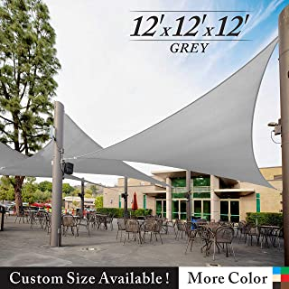 Royal Shade 12' x 12' x 12' Gray Triangle Sun Shade Sail Canopy Awning Outdoor Patio Fabric Shelter Cloth Screen Awning - 95% UV Protection, 200 GSM, Heavy Duty, 5 Years Warranty, We Make Custom Size
