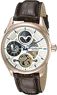 Stuhrling Men's Silver Dial Leather Band Watch - 657.04, Analog Display
