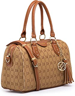 Lola Benson Demi Signature Logo Monogram Barrel Bag Bowling Bag Shoulder Bag (Brown Logo)