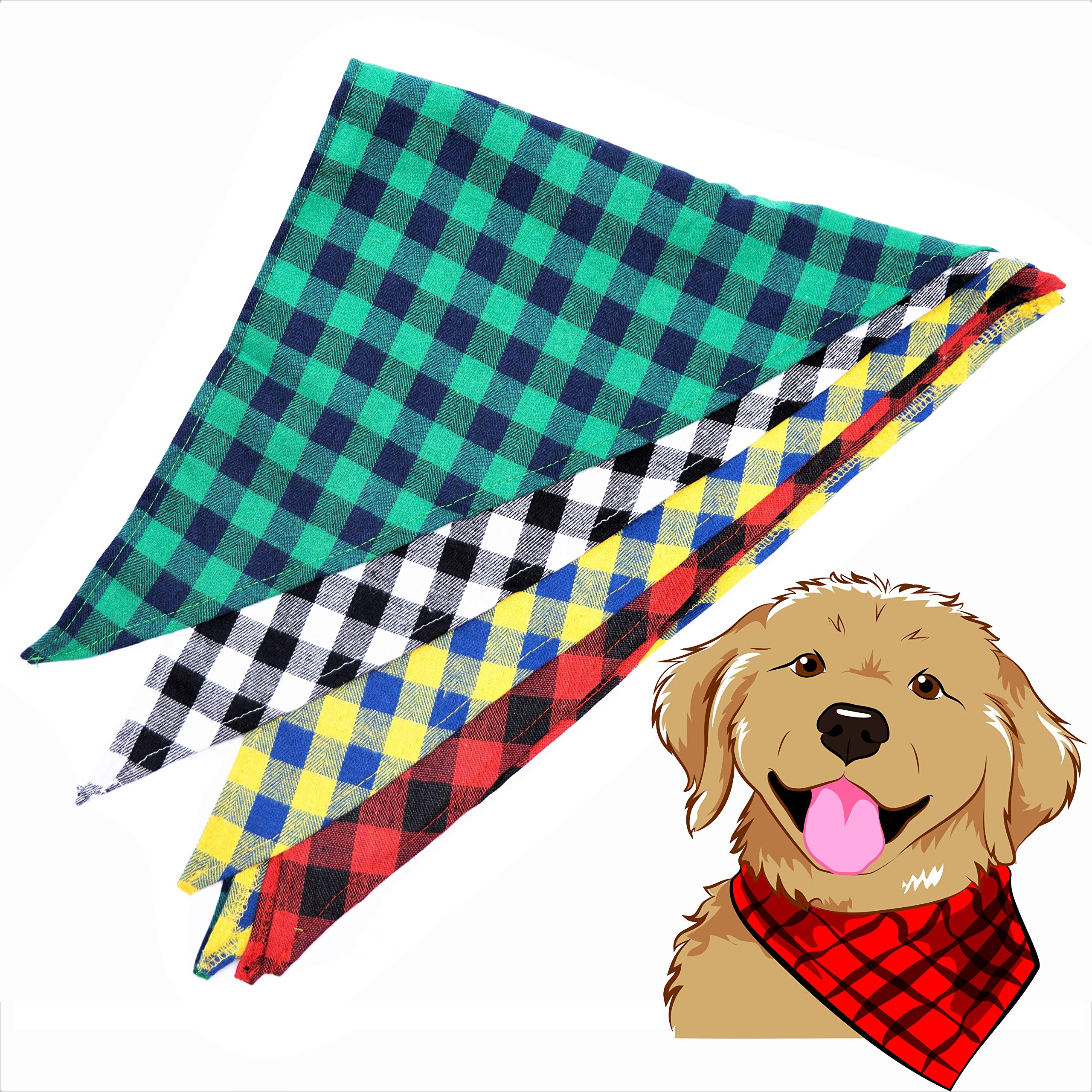 Ayschy Pet Dog Bandana Large Plaid Flannel 4 Pack - Red Green Yellow White Triangle Scarf For Small Medium Large Or Xl Dogs Holiday Accessories 4pcs Set Variety Buffalo Plaid Bibs