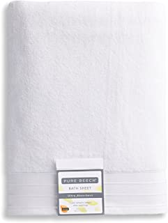PURE PLANT HOME Pure Beech 2-Piece Bath Sheet Towel Set – Cotton Modal Blend - Hotel Quality, Bright, Super Soft and Highly Absorbent - White