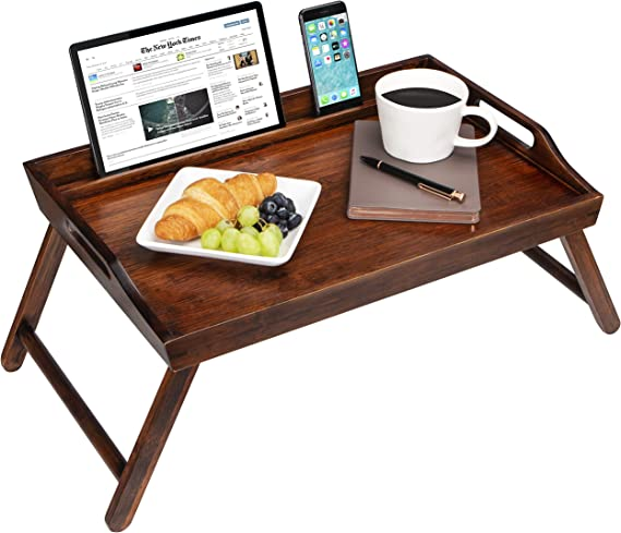 LapGear Media Bed Tray with Phone Holder - Fits Up to 17.3 Inch Laptops and Most Tablets - Espresso Bamboo - Style No. 78112