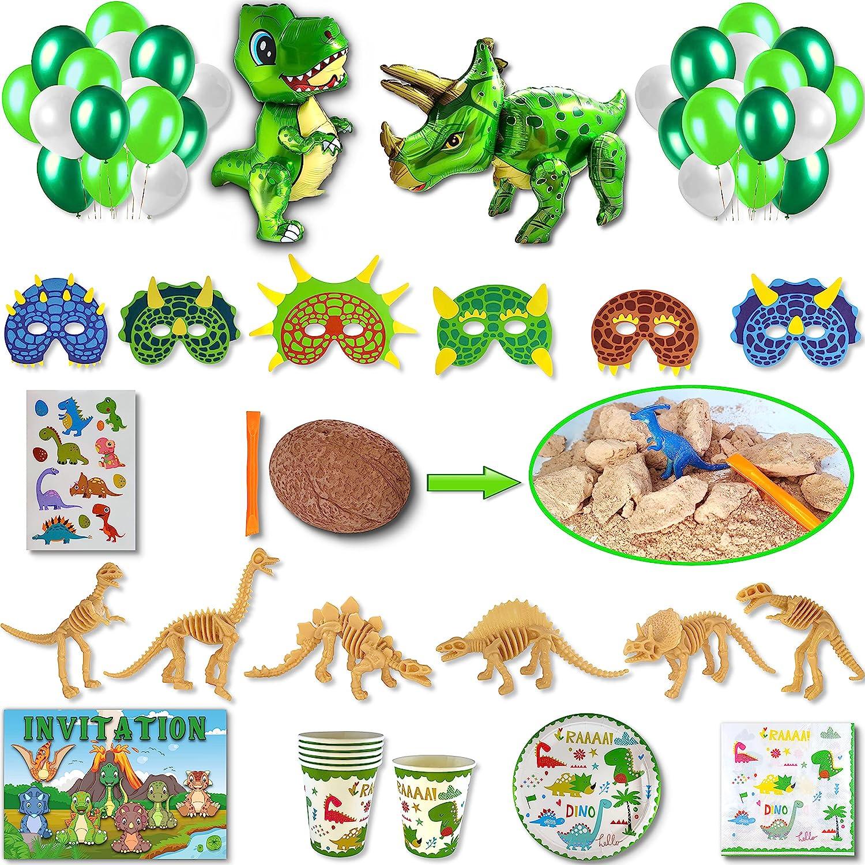 DREANA - Kit de fiesta de cumpleaños para niño, diseño de dinosaurio de 6 pers: decoración de pared (báldruche, dinosaurio gigante), vajilla desechable – Regalos para recuerdos de huevo sorpresa)