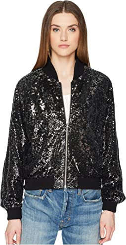Sequin Fabric Jacket with Contrasting Piping