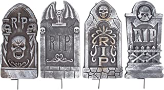 Halloween Tombstones - 4-Set Fake Cemetery Yard Decoration, Graveyard RIP Skull Headstone Foam Sign, Theme Party Supplies, Indoor Outdoor Lawn Prop, Plastic Stakes Included, Black, 8 x 16 x 0.8 Inches