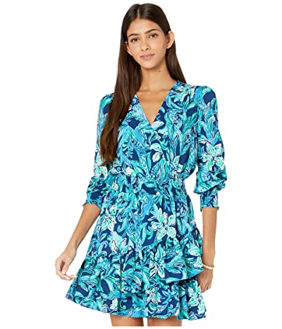 Lilly Pulitzer Cristiana Stretch Dress (High Tide Navy Take It Or Leaf It) Women