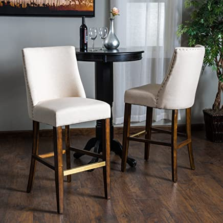 featured product Rydel Beige Linen Fabric Bar Stools (Set of 2)