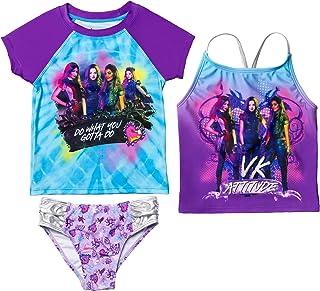 Disney Descendants Mal Uma Evie Audrey Girls Rash Guard Tankini Swimsuit Set