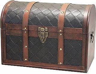 Vintiquewise(TM) Wooden Leather Treasure Chest
