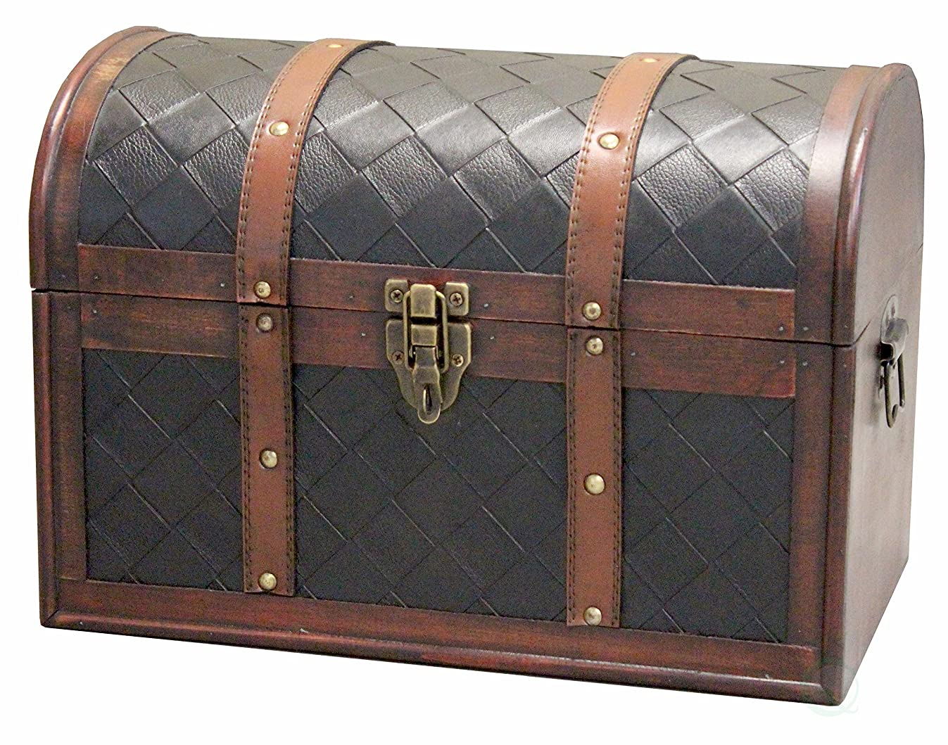 Vintiquewise(TM) Wooden Leather Treasure Chest