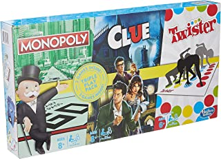 Hasbro Gaming E9495 Family Gaming Triple Play Pack, 3-Pack Includes Monopoly, Clue, and Twister Games, 3 Classic Games in ...