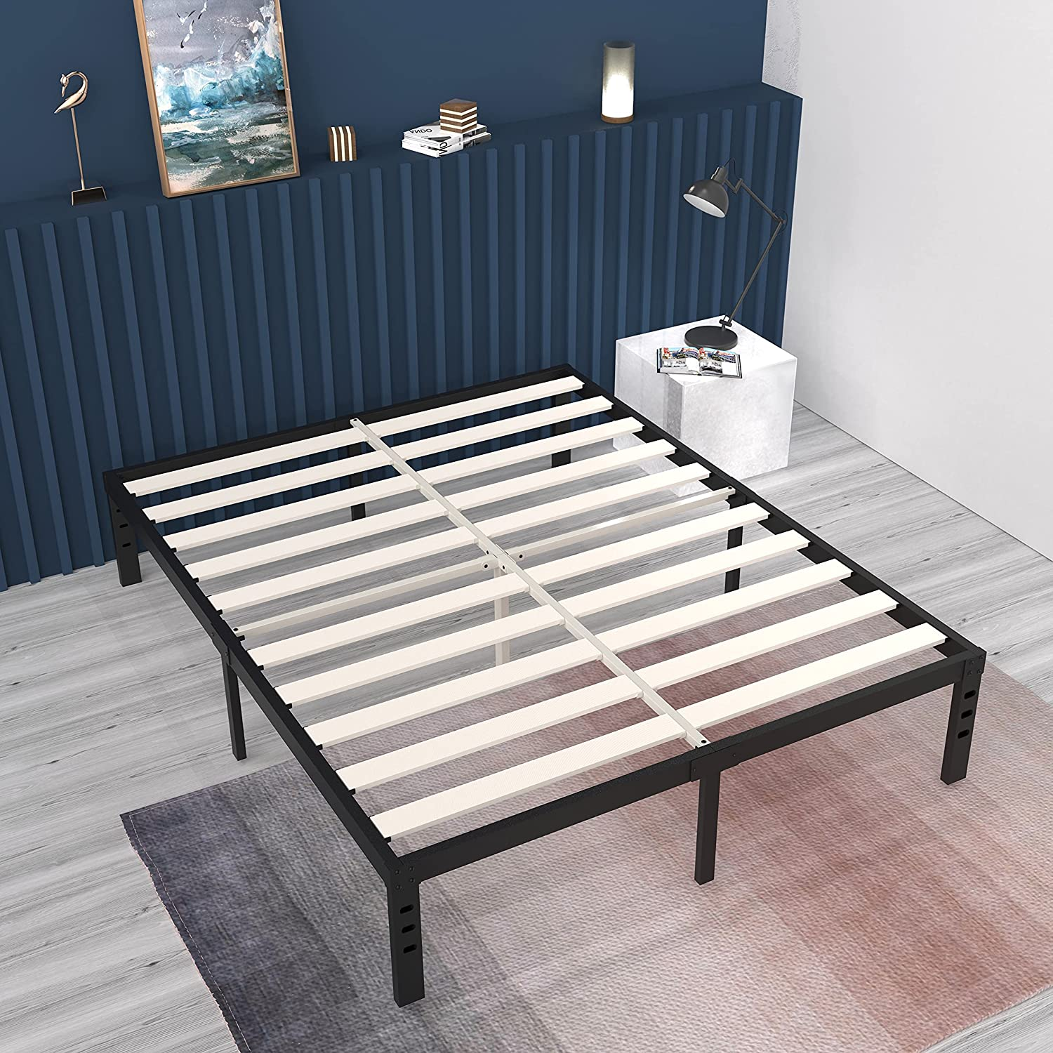 ONEMO King Bed Frame Indefinitely 14 Platform with Soli Inch Recommendation Metal