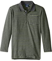 Toobydoo - Green Stripe Long Sleeve Polo (Toddler/Little Kids/Big Kids)
