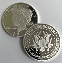 Aizics Mint 2nd Amendment Silver Liberty Round. Special One-of-a-Kind Coin for The Right to Bear Arms. 1922 Peace Dollar Design Silver Plated.