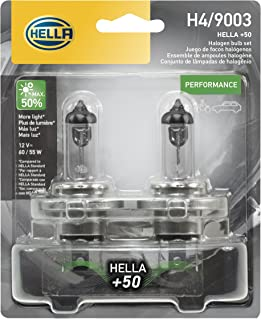 HELLA H4P50TB + 50% + +50 Performance H4 Bulbs, 12V, 60/55W, 2 Pack