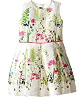 Oscar de la Renta Childrenswear - Botanical Border Mikado Party Dress (Toddler/Little Kids/Big Kids)