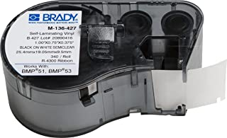 """Brady Self-Laminating Vinyl Label Tape - Black on White, Translucent Tape - Compatible with BMP41, BMP51, and BMP53 Label Makers - .75"""" Height.375"""" Width (M-136-427)"""