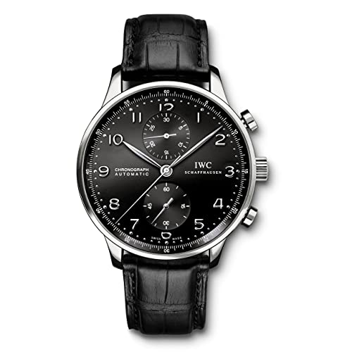 IWC Mens Swiss Quartz Watch with Stainless Steel Strap, Black (Model: IW371447