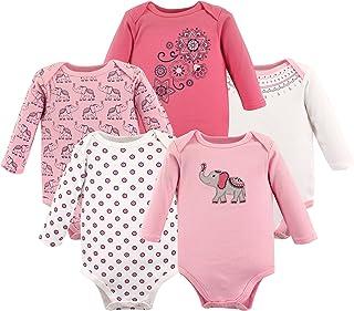 c61e53ff5 Hudson Baby Unisex Baby Long Sleeve Bodysuits, Boho Elephant 5-Pack 6-9
