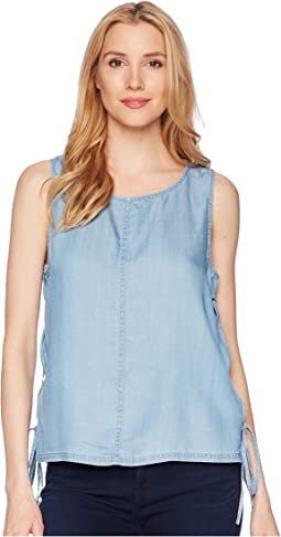 Sleeveless Shirting Tencel Blouse with Lace-Up Sides