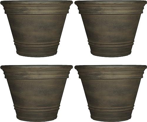 new arrival Sunnydaze Franklin Flower Pot Planter, Outdoor/Indoor Unbreakable Polyresin, UV-Resistant Sable Finish, Set of 4, Large new arrival 20-Inch sale Diameter outlet sale