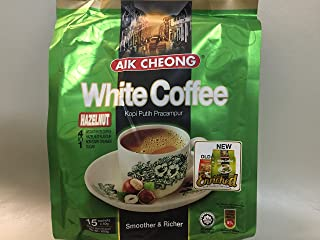 Malaysia Aik Cheong Old Town Instant (3 in 1) Choice of: Hazelnut White Coffee or Black Tea Coffee Combo Creamer, 15 Sachets (pack of 1) (Hazelnut Richer)