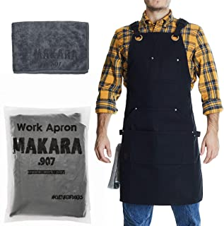 Shop, Work Apron - Waxed Canvas woodworking apron for men and women with 6 Spacious Pockets - Durable Tool Apron with Microfiber Towel Included - Smart Straps Design - Fully Adjustable S to XXL