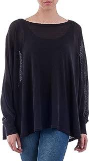 Black Cotton Knit Bohemian Drape Sweater, Night Breeze'