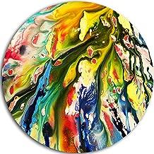 """designart مختلطة """"الألوان الزيتية ملمس ً ا تجريدية"""" أعمال فنية جدارية معدنية ، 23x 23سم ، باللون الأزرق/باللون الأصفر"""
